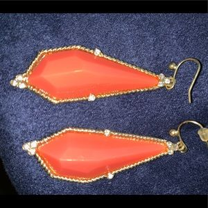 Jewelry - Orange and hold w clear stone dangle earrings